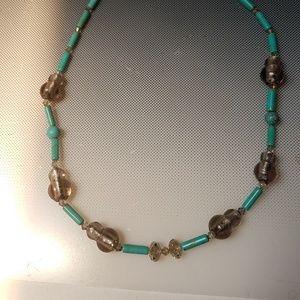 Turquoise smokey quartz beads necklace